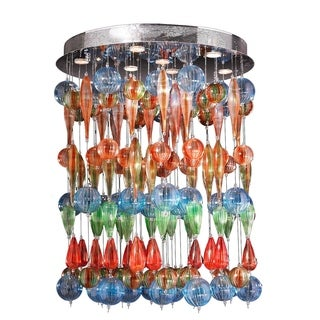 "Contemporary 9 Light Multi-colored Blown Fiesta Glass Ceiling Flush Mount 28"" Wide Extra Large"