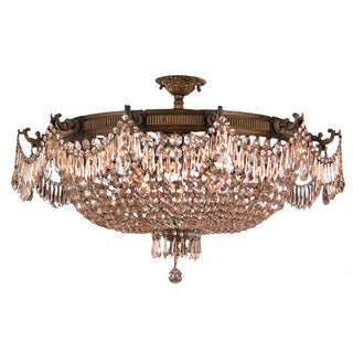 "French Basket Style 12 Light Antique Bronze Finish and Golden Teak Crystal Ceiling Flush Mount 36"" Wide Extra Large"