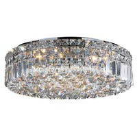 Glam Art Deco Style 20-inch Round Shape 6-light Chrome Canopy and Cluster of Crystal Balls Ceiling Flush Mount