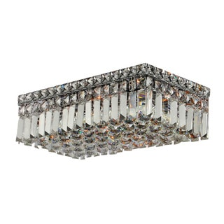"Contemporary 16"""" Rectangle Shape 4 Light Chrome Canopy and Cluster of Crystal Balls Ceiling Flush Mount Medium"