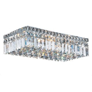 Glam Art Deco Style 20-inch Rectangle Shape 4-light Chrome Canopy and Cluster of Crystal Balls Large Ceiling Flush Mount Light
