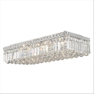"""Contemporary 24"""" Rectangle Shape 6 Light Chrome Canopy and Cluster of Crystal Balls Ceiling Flush Mount Extra Large"""