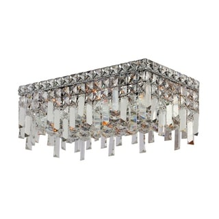 Glam Art Deco Style 16-inch Rectangle Shape 4-light Chrome Canopy and Cluster of Crystal Balls Medium Ceiling Flush Mount Light