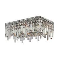 Glam Art Deco Style 16-inch Rectangle Shape 4-light Chrome Canopy and Cluster of Crystal Balls Medium Ceiling Flush Mount Light