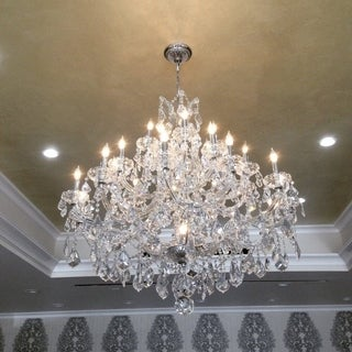 Maria Theresa 28 light Chrome Finish Victorian Grand Crystal Chandelier Three 3 Tier Large