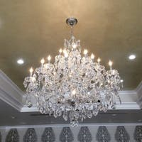 Maria Theresa Grand 28-light Chrome Finish Victorian Grand Crystal 3-tier Large Chandelier