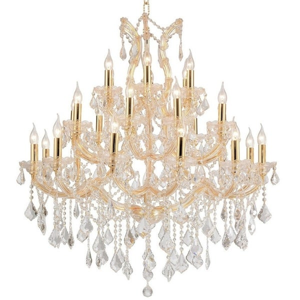 Maria Theresa 28 Light Gold Finish Victorian Grand Crystal Chandelier Three 3 Tier 38 In X