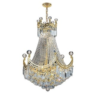 French Empire 9 Light Gold Finish Crystal Regal Chandelier Medium