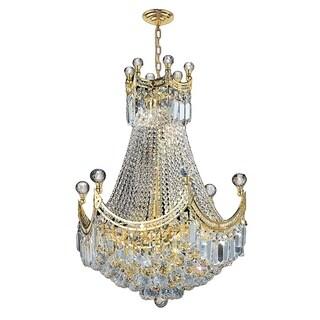 French Empire 9 Light Gold Finish Crystal Regal Chandelier Medium