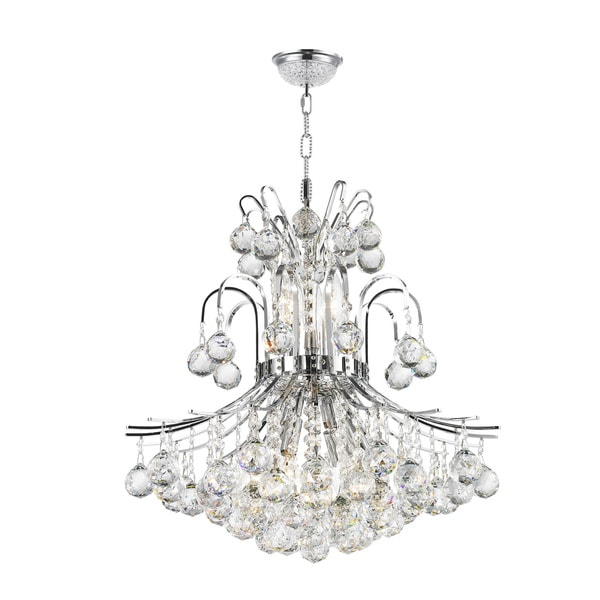 French Empire 9 Light Chrome Finish Crystal Regal Chandelier Medium