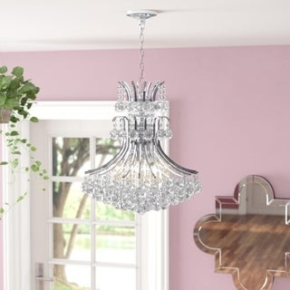 French Empire 9 Light Chrome Finish Clear Crystal Chandelier