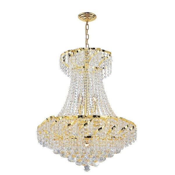 French Empire 9 Light Crystal Chandelier Gold