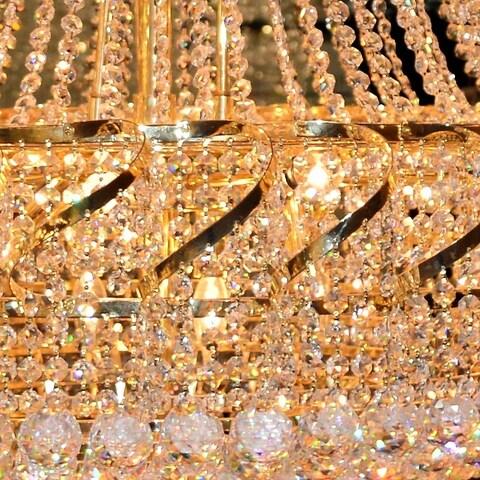 French Empire 11 Light Gold Finish Crystal Regal Chandelier Medium