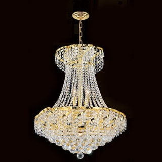French Empire 11 Light Gold Finish Crystal Regal Chandelier Medium