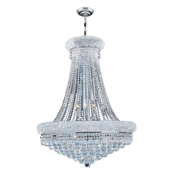 French Empire 14 Light Chrome Finish Crystal Regal Chandelier Large