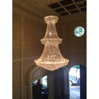 French Empire 38 light Chrome Finish Crystal Regal Chandelier Large Two 2 Tier