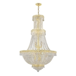 French Empire 17 Light Gold Finish Crystal Regal Chandelier Large