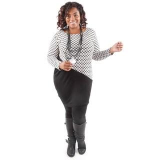 Hadari Women's Plus Size Black Design Block Long Sleeve Tunic