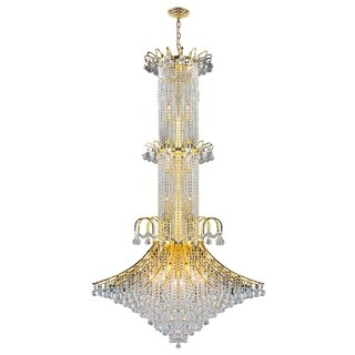 French Empire 20 Light Gold Finish Crystal Regal Chandelier Large