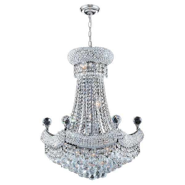 French Empire Light Clear Crystal Chandelier Chrome Finish