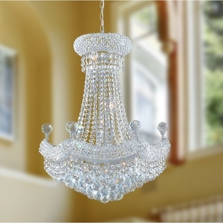 French Empire 12 Light Chrome Finish Crystal Regal Chandelier Medium