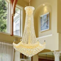 French Empire 18 Light Gold Finish Crystal Regal Chandelier Large