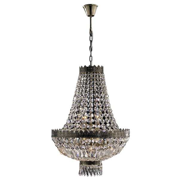 French Empire 8 Light Antique Bronze Finish Clear Crystal Basket Chandelier