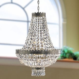 French Empire 6 Light Antique Bronze Finish and Clear Crystal Basket Chandelier Mini