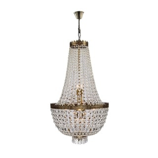 Metro Candelabra 8-light Antique Bronze Finish and Clear Crystal Basket Medium Chandelier