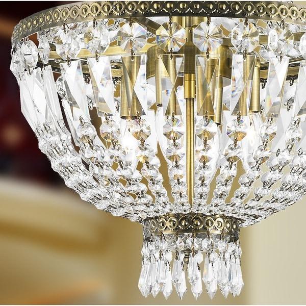 Metro Candelabra 6-light Antique Bronze Finish and Clear Crystal Basket Mini Chandelier