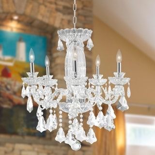 Metro Candelabra 5-light Chrome Finish with Double-cut Crystal Large Chandelier