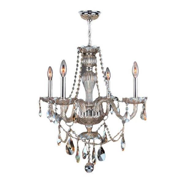 "Venetian Italian Style 4 Light Golden Teak Crystal Chandelier Medium 23"" x 25"""