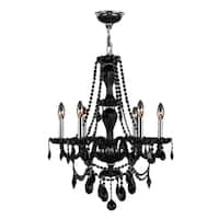 "Venetian Italian Style 6 Light Chrome Finish and Black Crystal Chandelier Medium 23"" x 31"""