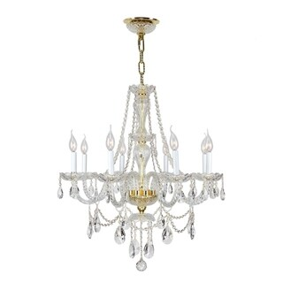 """Venetian Italian Style 8 Light Gold Finish and Clear Crystal Chandelier Large 28"""" x 30"""""""