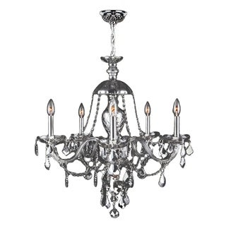 "Venetian Italian Style 5 Light Chrome Finish and Chrome Crystal Chandelier Large 25"" x 28"""
