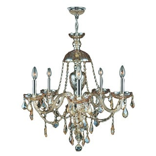 "Venetian Italian Style 5 Light Chrome Finish and Golden Teak Crystal Chandelier Large 25"" x 28"""