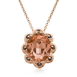 4ct Oval Shape Crystal Morganite and Marcasite Halo Necklace, Rose Gold Overlay, 18 Inches