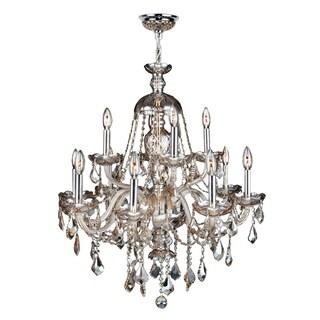 "Venetian Italian Style 12 Light Chrome Finish and Golden Teak Crystal Chandelier Large 28"" x 31"""