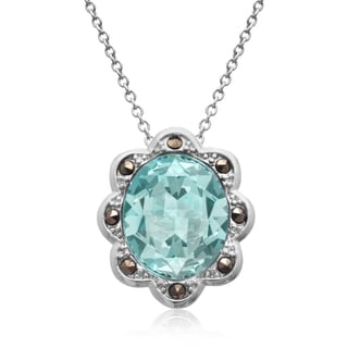 4ct Oval Shape Crystal Aquamarine and Marcasite Halo Necklace, 18 Inches