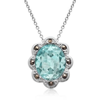 4ct Oval Shape Blue Crystal and Marcasite Halo Necklace, 18 Inches