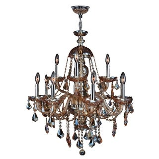 Venetian Italian Style 12-light Chrome Finish and Amber Crystal Large 28 x 31-inch 2-tier Chandelier