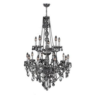 "Venetian Italian Style 15 Light Chrome Finish and Smoke Crystal Chandelier Two 2 Tier Large 33"" x 52"""