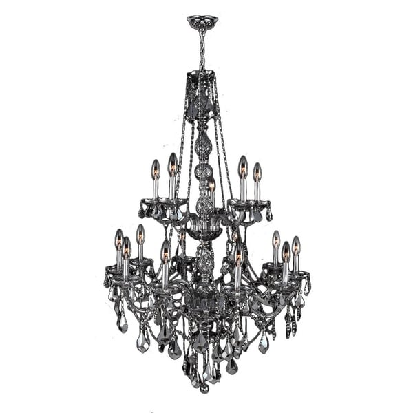 Shop venetian italian style 15 light chrome finish and smoke crystal venetian italian style 15 light chrome finish and smoke crystal chandelier two 2 tier large 33 aloadofball Images