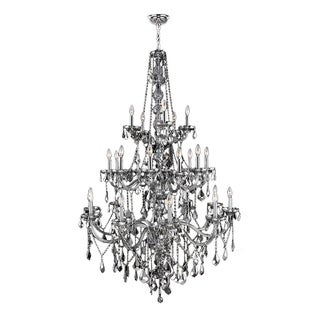 Venetian Italian Style 25-light Chrome Finish and Chrome 3-tier Extra Large 43 x 68-inch Crystal Chandelier