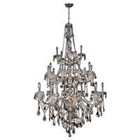 Venetian Italian Style 25-light Golden Teak Full Lead Crystal Three 3 tier 43 x 68-inch Tall Large Chandelier