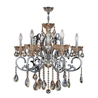 """French Scroll Collection 6 Light Chrome Finish and Amber Crystal Chandelier Large 26"""" x 24"""""""