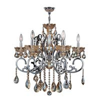 "French Scroll Collection 6 Light Chrome Finish and Amber Crystal Chandelier Large 26"" x 24"""