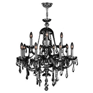 "Venetian Italian Style 12 Light Chrome Finish and Smoke Crystal Chandelier Large 28"" x 31"""