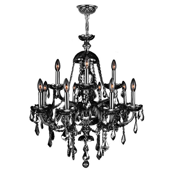 15 Light Chrome Finish And Smoke Crystal Chandelier Two 2 Tier Large