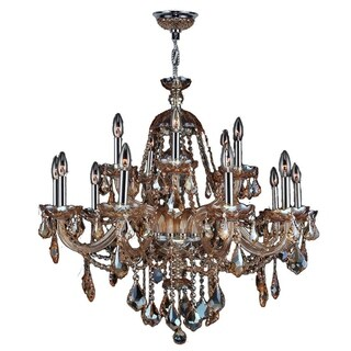 "Venetian Italian Style 15 Light Chrome Finish and Amber Crystal Chandelier Two 2 Tier Large 35"" x 31"""